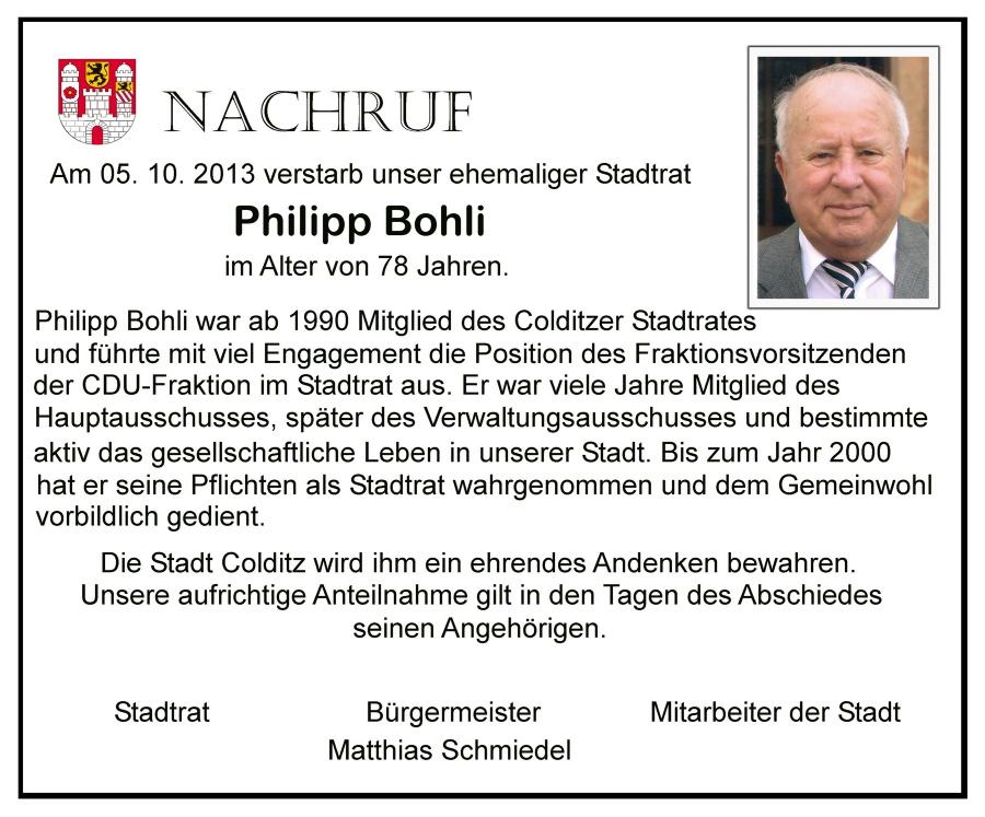 Nachruf Philipp Bohli