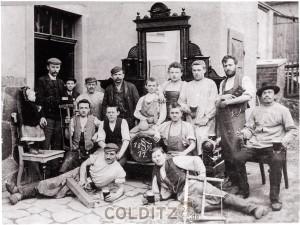 Belegschaftsfoto von 1899 mit Christophs Urgroßvater Moritz