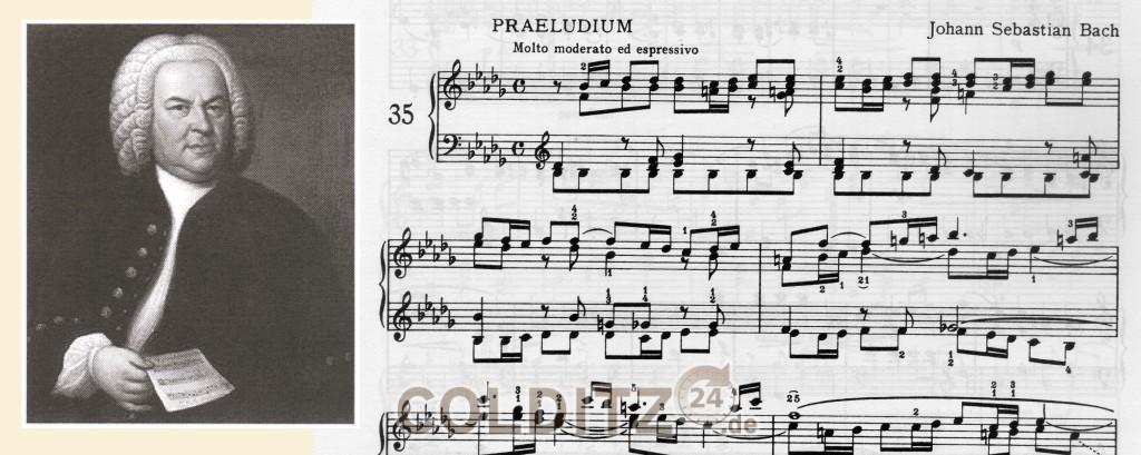Johann Sebastian Bach (1685 - 1750) und eines seiner Notenblätter