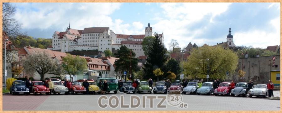 15 historische VW-Käfer sind in Colditz eingeflogen