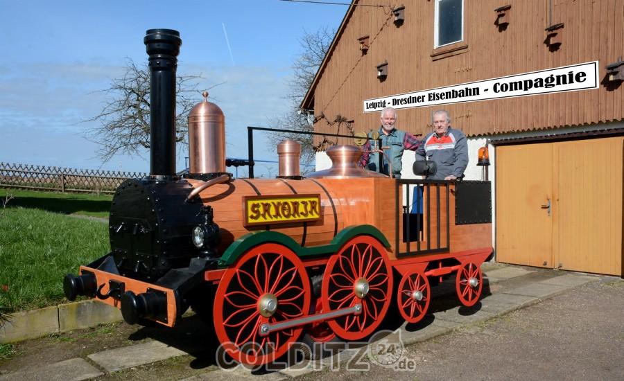 """Das Modell der """"Saxonia"""", die als 1. Lokomotive Deutschlands 1839 ihren Dienst aufnahm."""