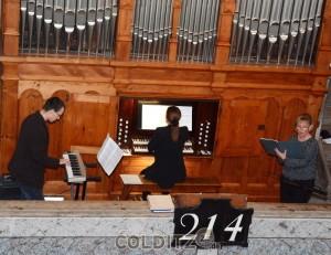 Barbara Schneider (Gesang), Annegret (Orgel) und Julius (Vibraphon) Heise