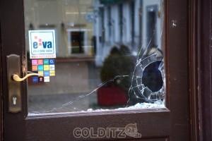 Die Eingangstür zum Colditzer Kaufhaus