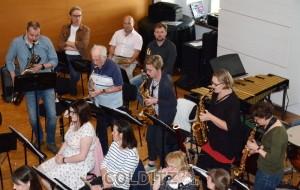 Die Saxophongruppe mit Alterspräsident Werner Klee (2. von li.)