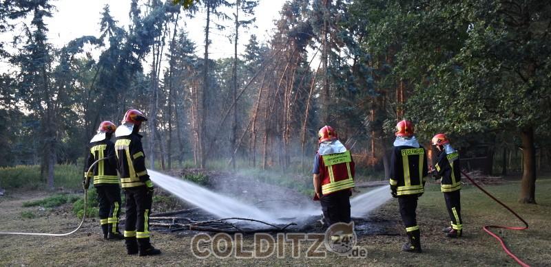 Altholzhaufen in Flammen