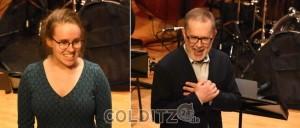 Leiterin der LMA, Lena Thalheim und der Gast-Dirigent Janis Steprans