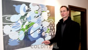 Sven Ritter an einem seiner Bilder