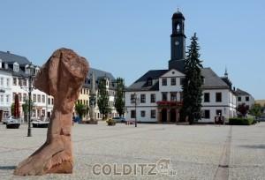 Rochlitz - Stadt des roten Porphyr (Markt mit Rathaus)