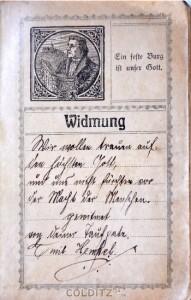 Eine Widmung in einem Gesangbuch zur Konfirmation von 1918