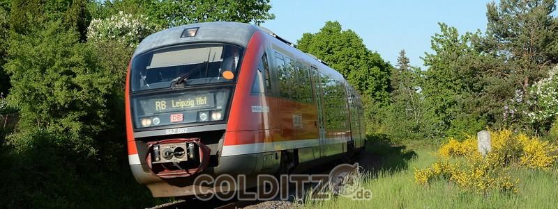 Der Zug hält in Bad Lausick ebenso, wie in Leisnig