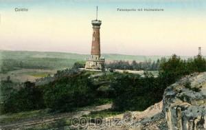 Der Heimatturm  (1901) - Materialspender und Bau eng nebeneinander...