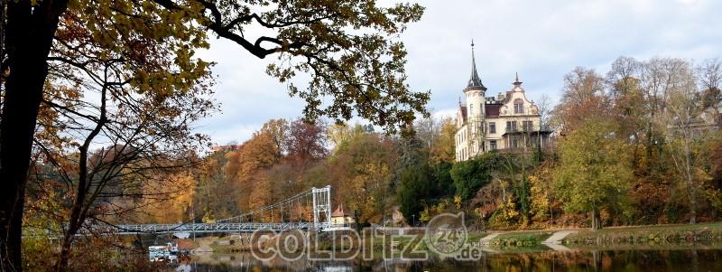 Mulde in Grimma mit Gattersburg und Hängebrücke